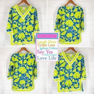 Gretchen Scott Tropical Floral Print Tunic Top XS